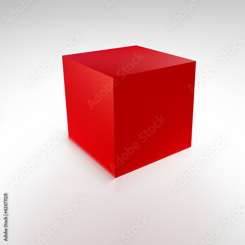Red cube with reflections and shadows, vector illustration