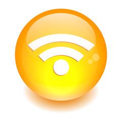 bouton internet wifi icon orange
