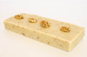 Nougat of nuts, typical Christmas sweet of Spain