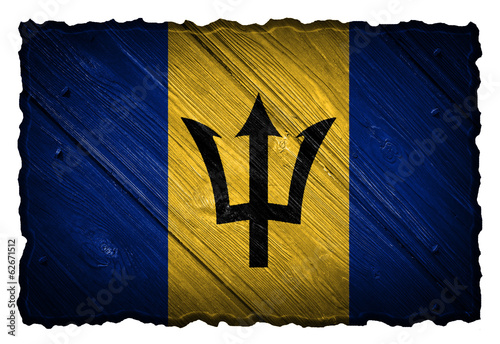 Barbados flag painted on wooden tag