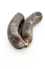 Spanish sausage made od blood and rice. Morcilla