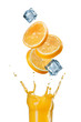 slices of orange falling into juice splash in glass isolated on