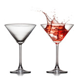 empty anв full martini glass with red cocktail with splash isol