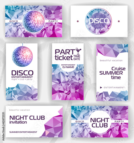 Set of geometric disco visiting card. corporate identity
