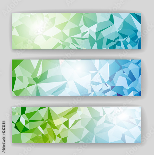Set of banners with geometric background