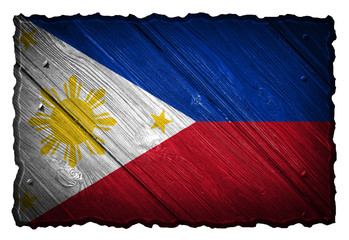 Philippines flag painted on wooden tag