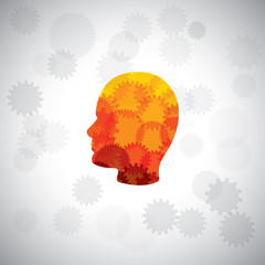 vector concept - puzzle head of human face with gears & cogs