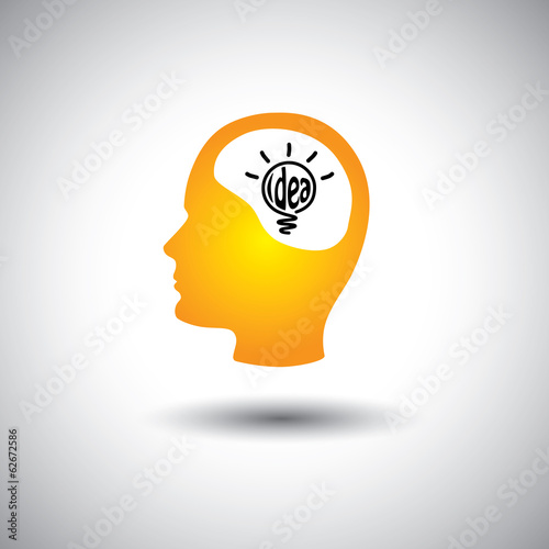 human face & brain with idea bulb - concept vector icon