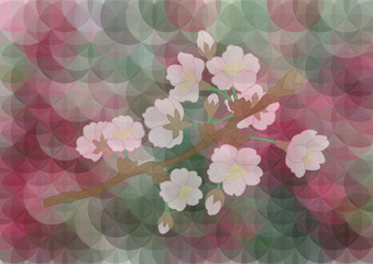 Apple tree branch on mosaic background