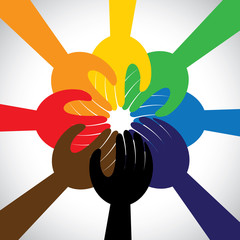 group of hands taking pledge, promise or vow - concept vector ic