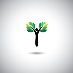 eco concept vector sign - eco man or nature loving people.