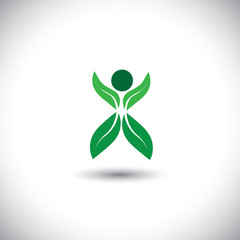 eco concept vector icon - person made of leaves & plant.