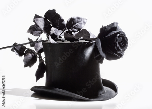 Black Top Hat and Black Rose