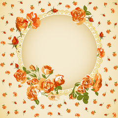 Vintage floral  background with roses