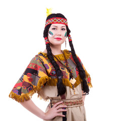Beautiful native american woman on white background