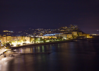 Playa De La Caletilla by night, Almunecar, Andalusia, Spain