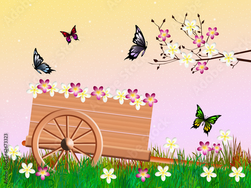 handcart in summer