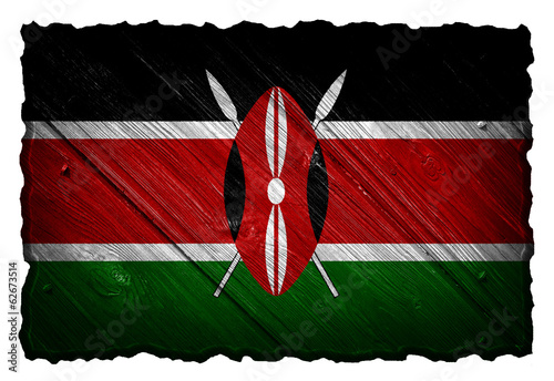 Kenya flag painted on wooden tag