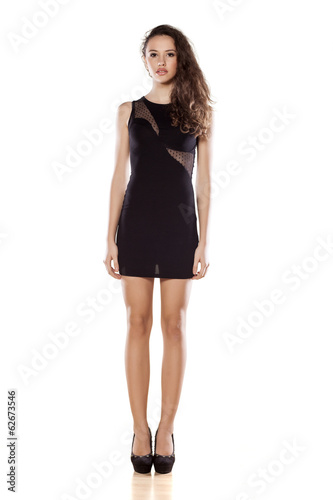 pretty girl standing on white background