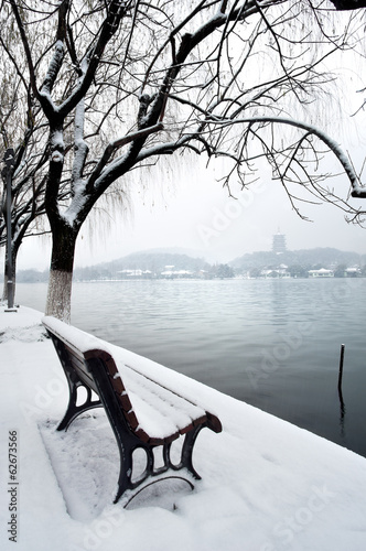 West Lake and Leifeng Pagoda in the snow, Hangzhou, China