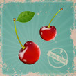 Vector Illustration of a Vintage Cherry Sign