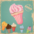 Vector Illustration of a Vintage Cup Cake Sign