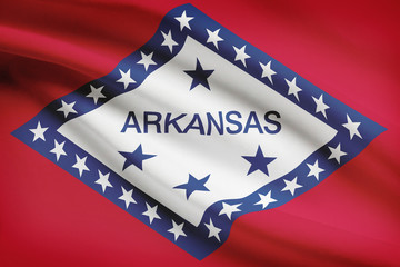 Series of ruffled flags of US states. State of Arkansas.