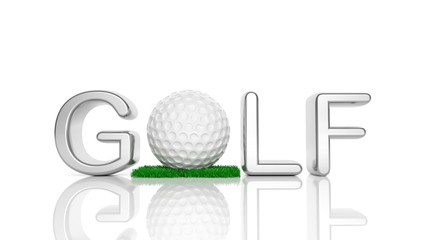 """3D """"Golf"""" text with ball for """"O"""" isolated"""