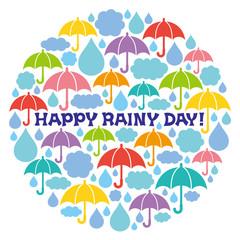 雨の日 サービスデー 雲と雨と傘をつめこんだ円
