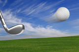 Golf ball with club in action with outdoors background