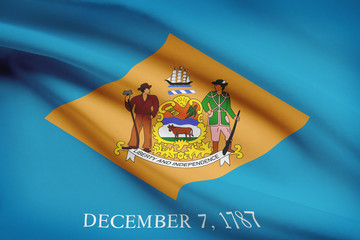 Series of ruffled flags of US states. State of Delaware.