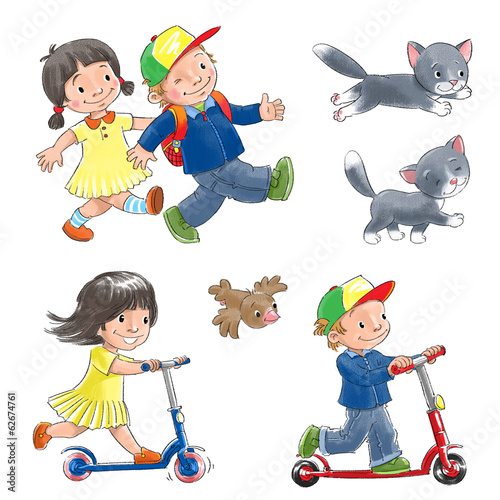 Children on scooters and cat.