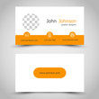 modern orange business card with arcs