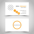 modern orange business card with ring icons