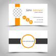 modern orange business card with  ring icons and stripes