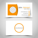 modern orange business card with sticker and photo