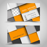 modern orange business card with squares