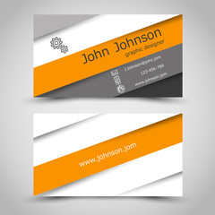 business card with orange stripes