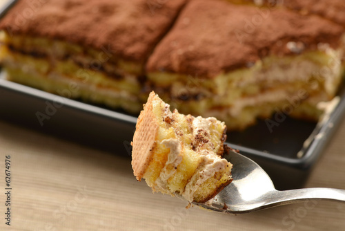 Close up of tiramisu cake with cocoa; selective focus.