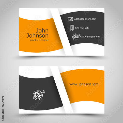orange business card with wave
