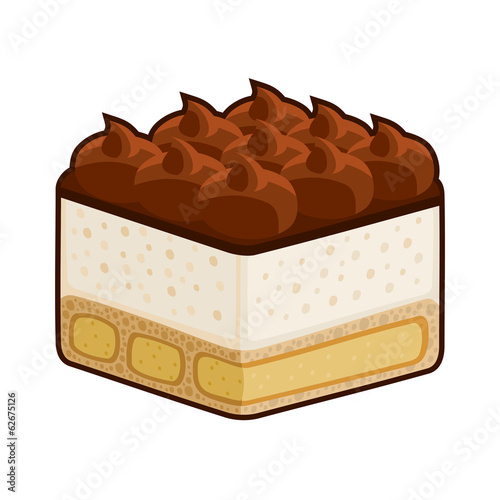 Dessert Tiramisu with Amaretto Isolated on White. Vector