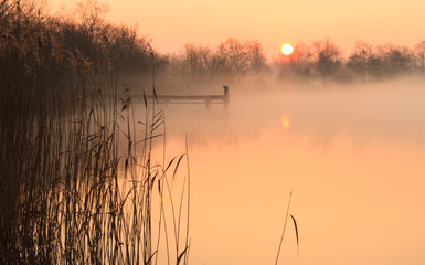 Foggy and yellow sunrise at a jetty in a lake.
