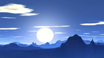 Blue sunset in the mountains