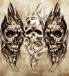Sketch of tattoo art, skulls