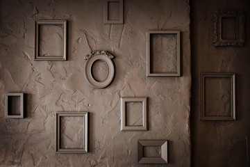 Empty Vintage  Frames on a  Grungy Background