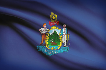 Series of ruffled flags of US states. State of Maine.