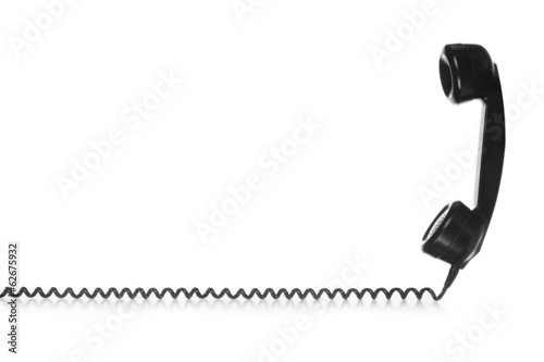 Old Vintage Black Telephone isolated on white background