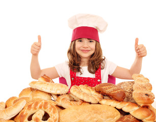 little girl bakery with thumbs up and breads
