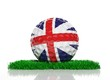 Golf ball with flag of UK on green grass