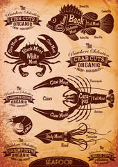 vector diagram cut carcasses seafood